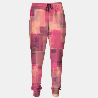 psychedelic geometric square pattern abstract in pink and purple Sweatpants obraz miniatury