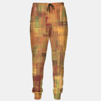 vintage psychedelic geometric square pattern abstract in brown and green Sweatpants obraz miniatury