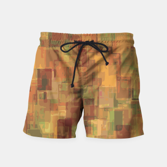 vintage psychedelic geometric square pattern abstract in brown and green Swim Shorts obraz miniatury
