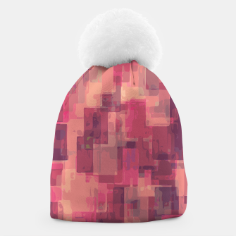 psychedelic geometric square pattern abstract in pink and purple Beanie obraz miniatury