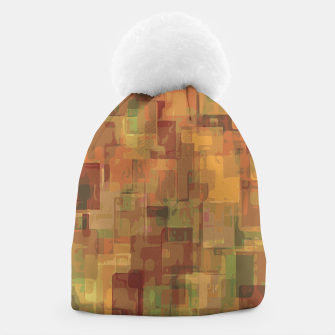 vintage psychedelic geometric square pattern abstract in brown and green Beanie obraz miniatury