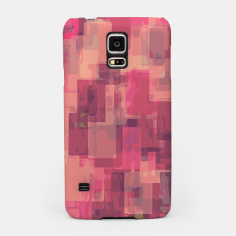 psychedelic geometric square pattern abstract in pink and purple Samsung Case obraz miniatury
