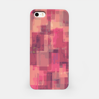 psychedelic geometric square pattern abstract in pink and purple iPhone Case obraz miniatury