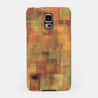 vintage psychedelic geometric square pattern abstract in brown and green Samsung Case obraz miniatury