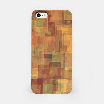 vintage psychedelic geometric square pattern abstract in brown and green iPhone Case obraz miniatury