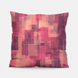 psychedelic geometric square pattern abstract in pink and purple Pillow obraz miniatury
