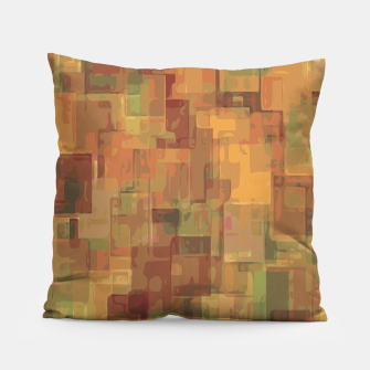 vintage psychedelic geometric square pattern abstract in brown and green Pillow obraz miniatury