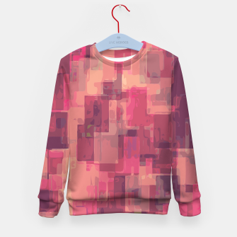 psychedelic geometric square pattern abstract in pink and purple Kid's Sweater obraz miniatury