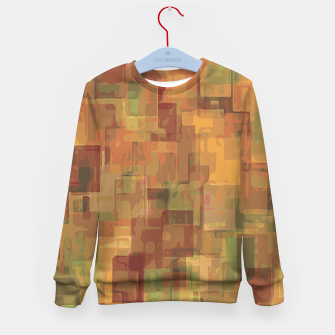 vintage psychedelic geometric square pattern abstract in brown and green Kid's Sweater obraz miniatury