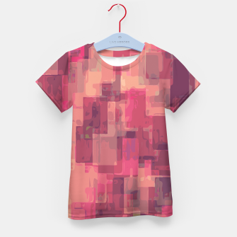 psychedelic geometric square pattern abstract in pink and purple Kid's T-shirt obraz miniatury