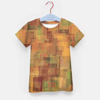 vintage psychedelic geometric square pattern abstract in brown and green Kid's T-shirt obraz miniatury