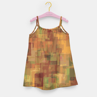 vintage psychedelic geometric square pattern abstract in brown and green Girl's Dress obraz miniatury