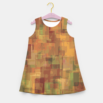 vintage psychedelic geometric square pattern abstract in brown and green Girl's Summer Dress obraz miniatury