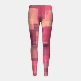 psychedelic geometric square pattern abstract in pink and purple Girl's Leggings obraz miniatury
