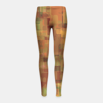 vintage psychedelic geometric square pattern abstract in brown and green Girl's Leggings obraz miniatury