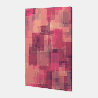 psychedelic geometric square pattern abstract in pink and purple Canvas obraz miniatury