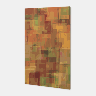 vintage psychedelic geometric square pattern abstract in brown and green Canvas obraz miniatury