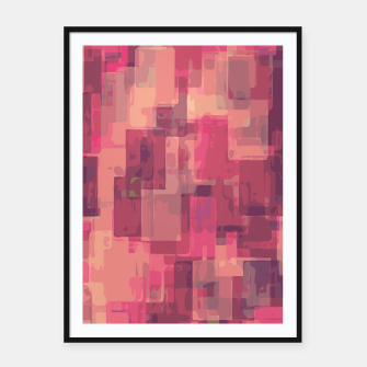 psychedelic geometric square pattern abstract in pink and purple Framed poster obraz miniatury