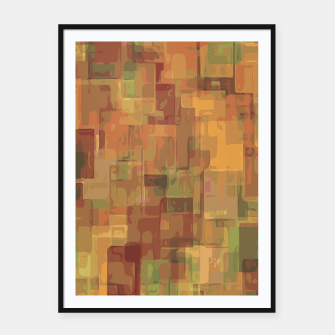 vintage psychedelic geometric square pattern abstract in brown and green Framed poster obraz miniatury