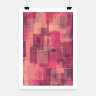psychedelic geometric square pattern abstract in pink and purple Poster obraz miniatury