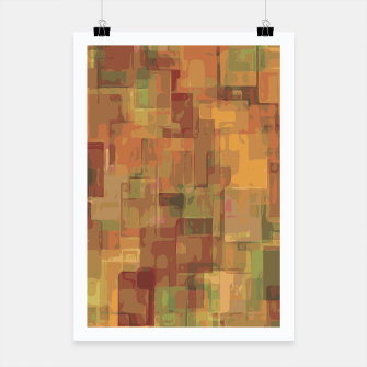 vintage psychedelic geometric square pattern abstract in brown and green Poster obraz miniatury
