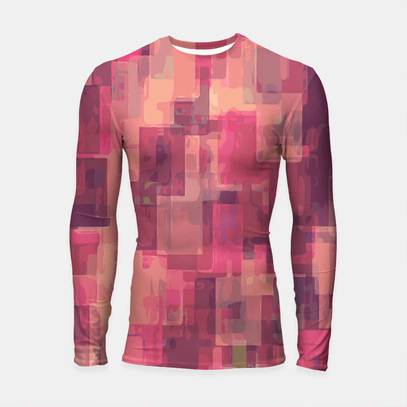 Zdjęcie psychedelic geometric square pattern abstract in pink and purple Longsleeve Rashguard  - Live Heroes