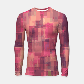 psychedelic geometric square pattern abstract in pink and purple Longsleeve Rashguard  obraz miniatury