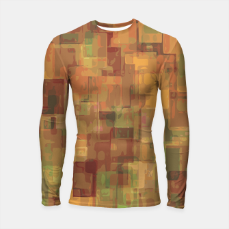 vintage psychedelic geometric square pattern abstract in brown and green Longsleeve Rashguard  obraz miniatury
