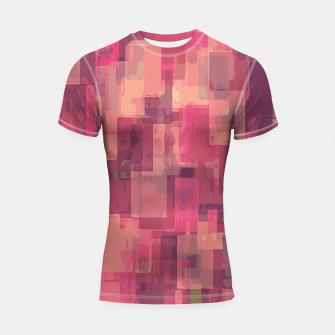 psychedelic geometric square pattern abstract in pink and purple Shortsleeve Rashguard obraz miniatury