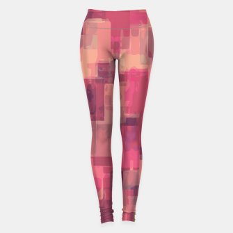 psychedelic geometric square pattern abstract in pink and purple Leggings obraz miniatury