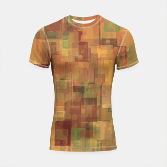 vintage psychedelic geometric square pattern abstract in brown and green Shortsleeve Rashguard obraz miniatury
