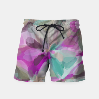 circle pattern abstract background in pink green brown Swim Shorts obraz miniatury