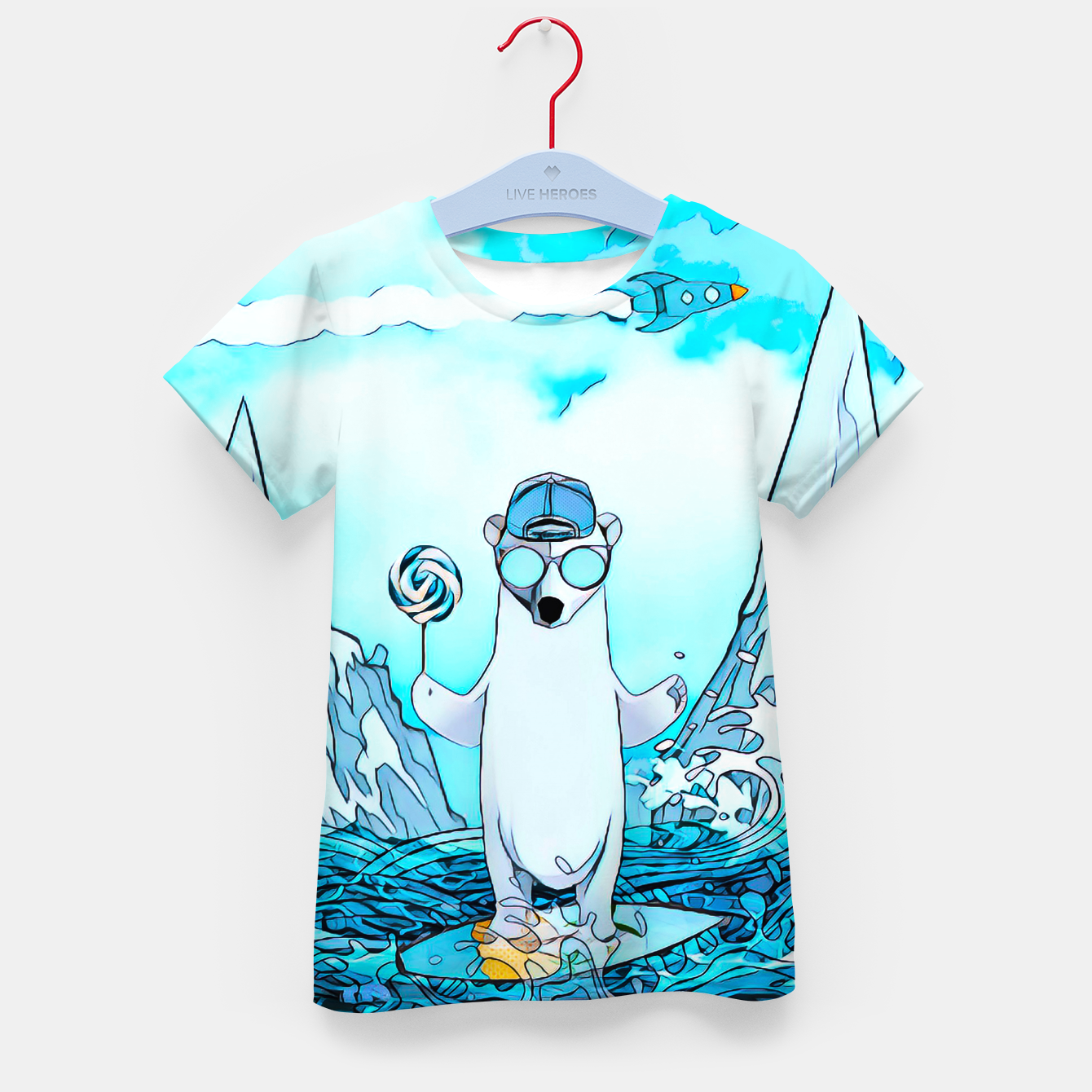 Foto Polar bear on the surfboard Kid's T-shirt - Live Heroes