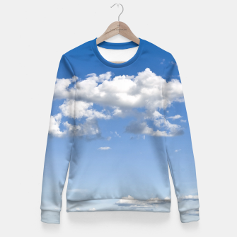 Thumbnail image of White Summer Clouds and Blue Sky Fitted Waist Sweater, Live Heroes