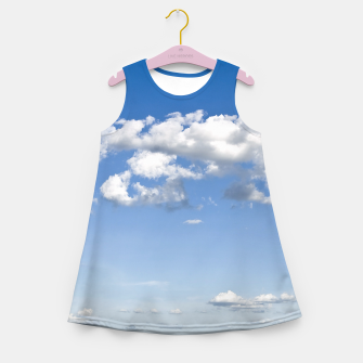 Thumbnail image of White Summer Clouds and Blue Sky Girl's Summer Dress, Live Heroes