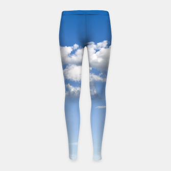 Thumbnail image of White Summer Clouds and Blue Sky Girl's Leggings, Live Heroes