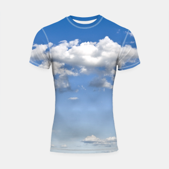 Miniaturka White Summer Clouds and Blue Sky Shortsleeve Rashguard, Live Heroes