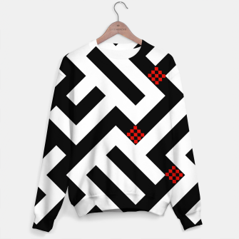 Thumbnail image of Geometrcal black and white with red squares Sweater, Live Heroes