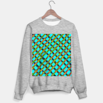 line pattern painting abstract background in blue green red yellow Sweater regular obraz miniatury