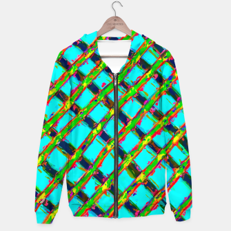 line pattern painting abstract background in blue green red yellow Hoodie obraz miniatury