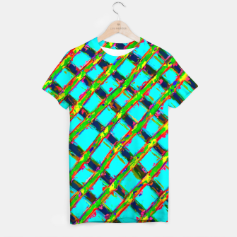 line pattern painting abstract background in blue green red yellow T-shirt obraz miniatury