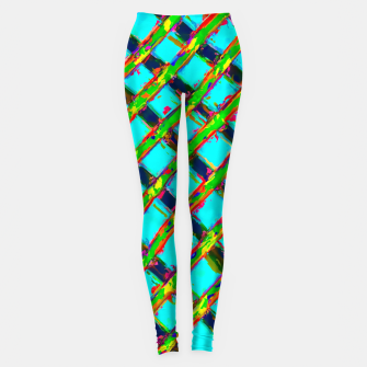 line pattern painting abstract background in blue green red yellow Leggings obraz miniatury