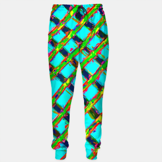 line pattern painting abstract background in blue green red yellow Sweatpants obraz miniatury