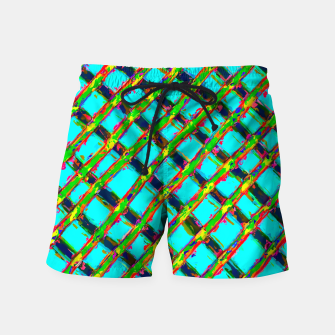 line pattern painting abstract background in blue green red yellow Swim Shorts obraz miniatury