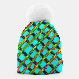 line pattern painting abstract background in blue green red yellow Beanie obraz miniatury