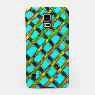 line pattern painting abstract background in blue green red yellow Samsung Case obraz miniatury
