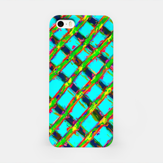 line pattern painting abstract background in blue green red yellow iPhone Case obraz miniatury
