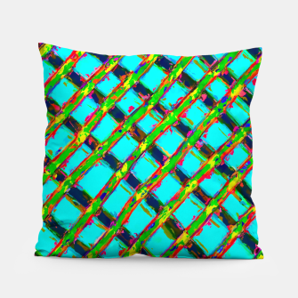 line pattern painting abstract background in blue green red yellow Pillow obraz miniatury
