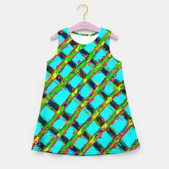line pattern painting abstract background in blue green red yellow Girl's Summer Dress obraz miniatury