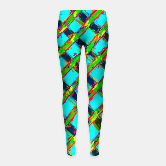 line pattern painting abstract background in blue green red yellow Girl's Leggings obraz miniatury